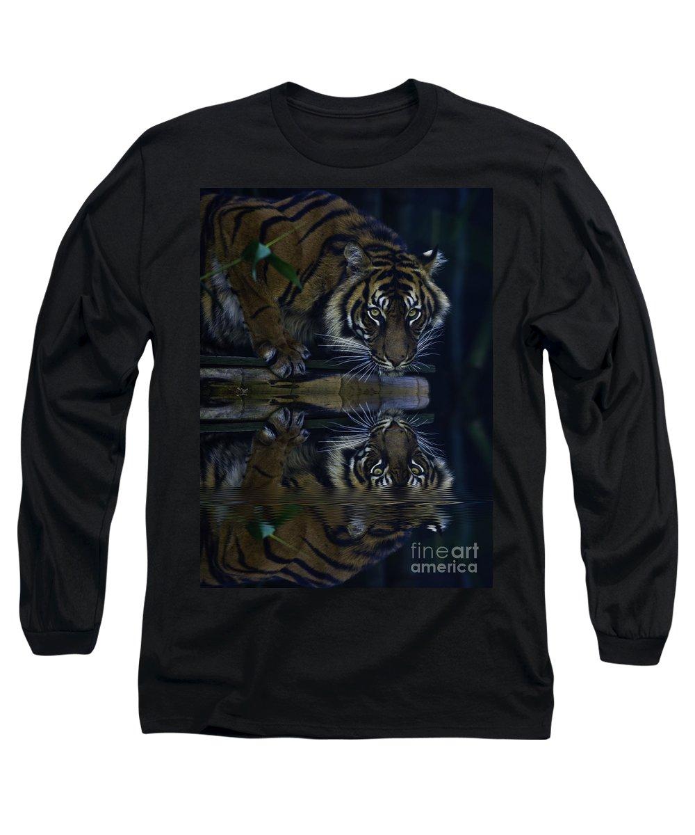 Sumatran Tiger Long Sleeve T-Shirt featuring the photograph Sumatran Tiger Reflection by Sheila Smart Fine Art Photography