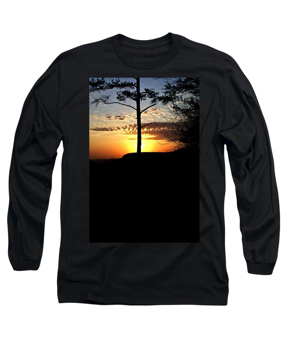 Sunburst Long Sleeve T-Shirt featuring the photograph Sunburst Sunset by Douglas Barnett