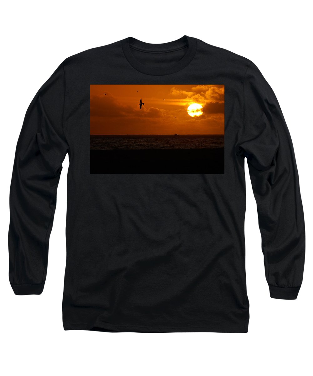 Clay Long Sleeve T-Shirt featuring the photograph Sundown Flight by Clayton Bruster