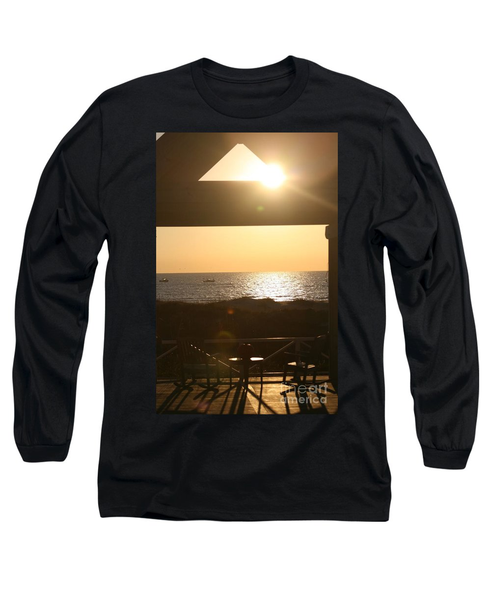 Sunrise Long Sleeve T-Shirt featuring the photograph Sunrise Through The Pavilion by Nadine Rippelmeyer