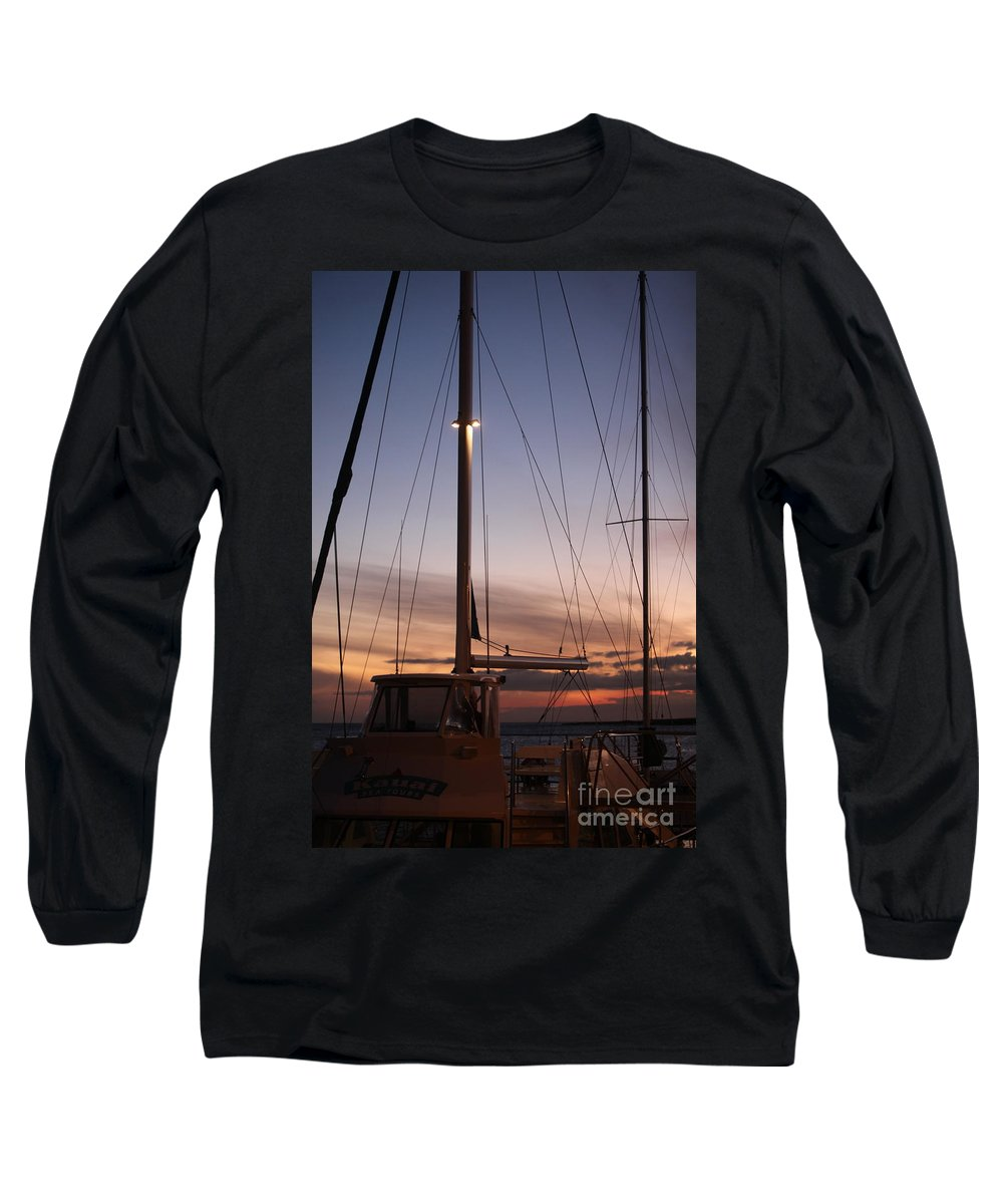 Sunset Long Sleeve T-Shirt featuring the photograph Sunset And Sailboat by Nadine Rippelmeyer