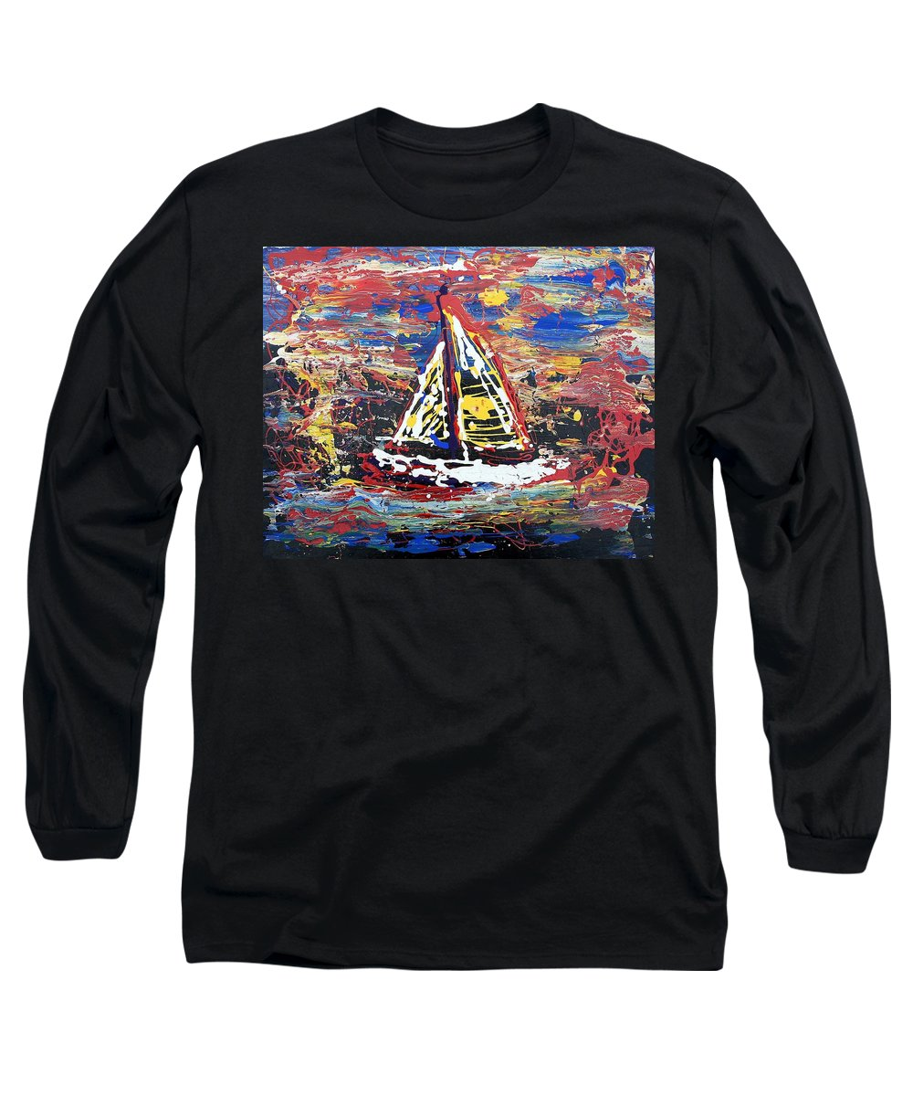 Sailboat Long Sleeve T-Shirt featuring the painting Sunset On The Lake by J R Seymour