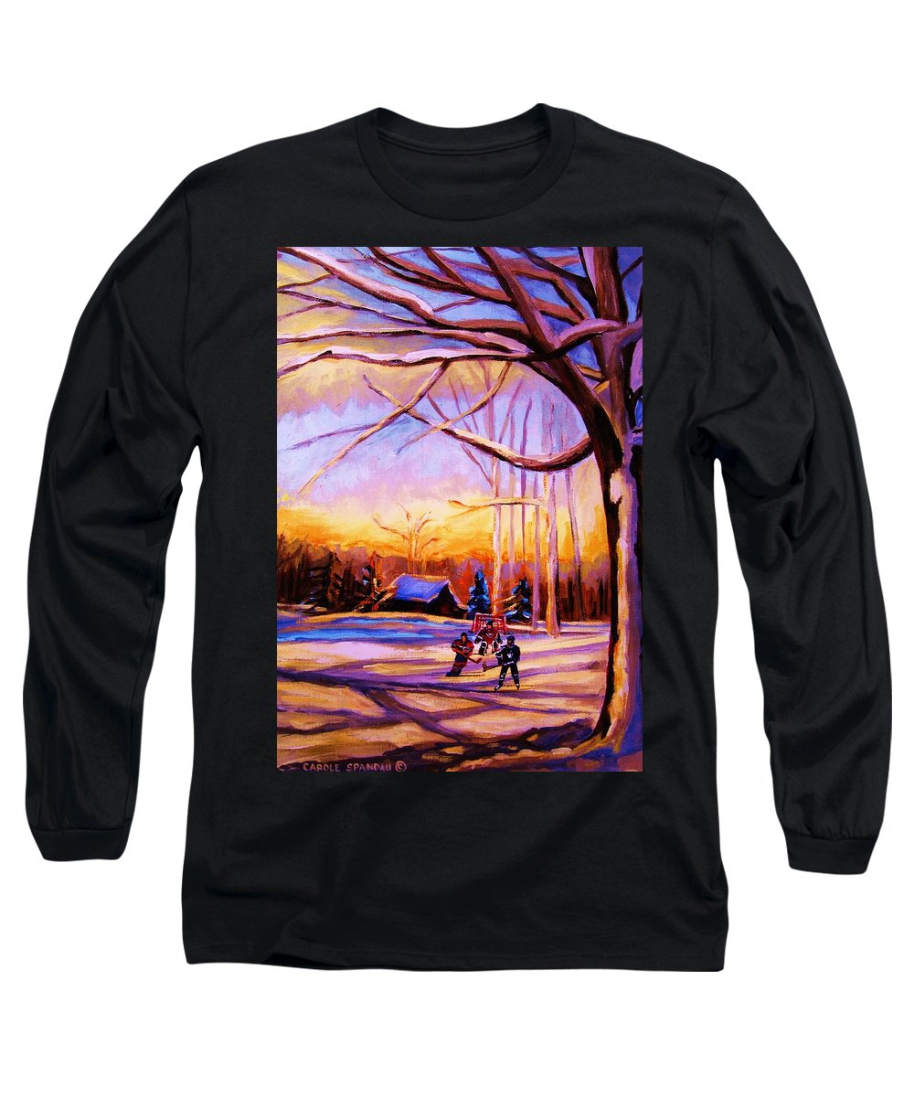 Sunset Over Hockey Long Sleeve T-Shirt featuring the painting Sunset Over The Hockey Game by Carole Spandau