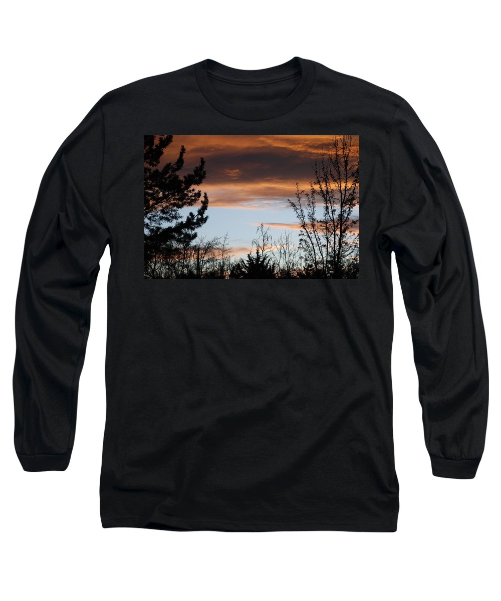Sunset Long Sleeve T-Shirt featuring the photograph Sunset Thru The Trees by Rob Hans