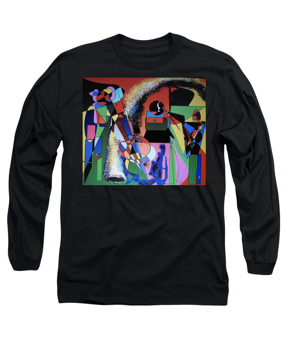 Jazz Long Sleeve T-Shirt featuring the digital art Swinging Trio by Ian MacDonald