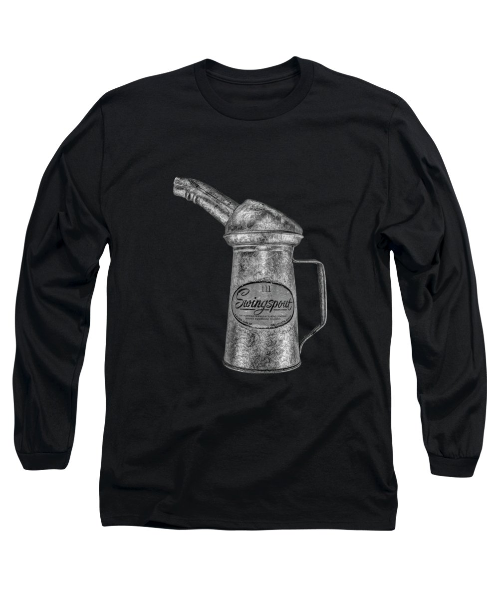 Art Long Sleeve T-Shirt featuring the photograph Swingspout Oil Can Bw by YoPedro