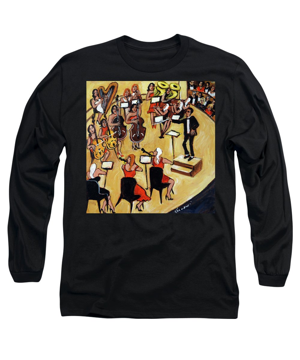 Carnegie Hall Orchestra Long Sleeve T-Shirt featuring the painting Symphony by Valerie Vescovi
