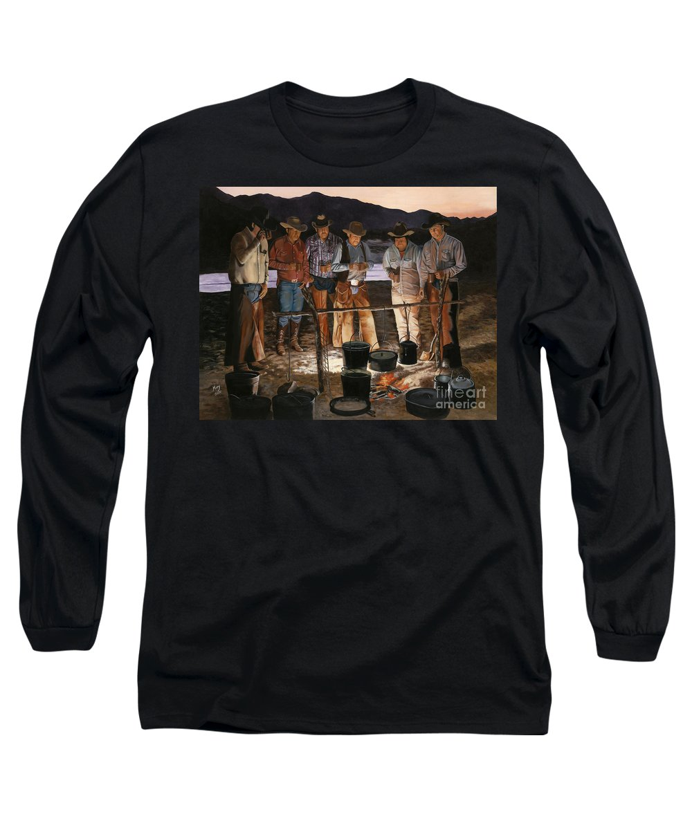 Arizona Long Sleeve T-Shirt featuring the painting Tall Tales by Mary Rogers