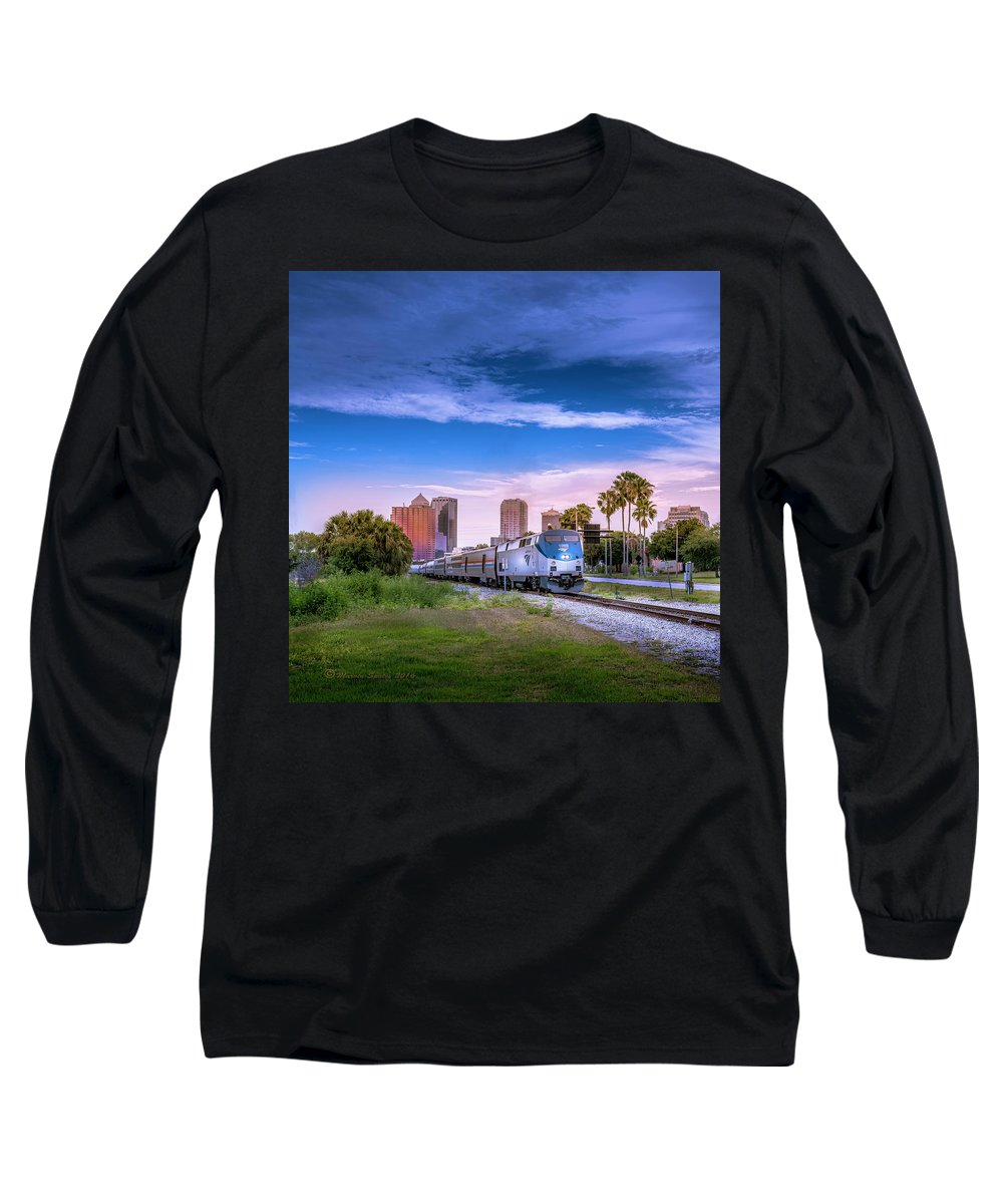 Amtrak Long Sleeve T-Shirt featuring the photograph Tampa Departure by Marvin Spates