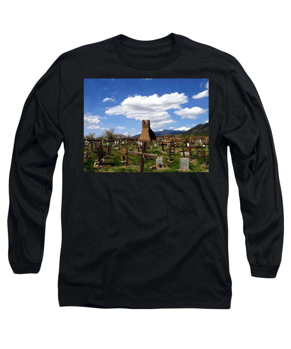 Taos Long Sleeve T-Shirt featuring the photograph Taos Pueblo Cemetery by Kurt Van Wagner