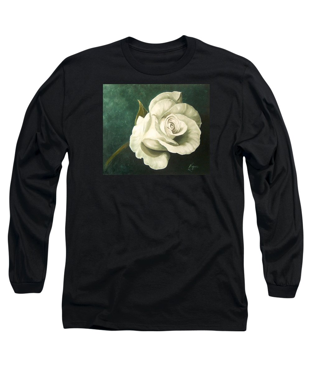Rose Flower Still Life White Long Sleeve T-Shirt featuring the painting Tea Rose by Natalia Tejera