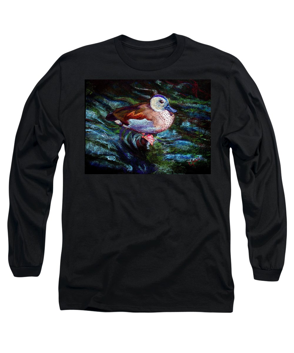 Teal Duck Long Sleeve T-Shirt featuring the painting Teal Duck Of Naples by Laurie Paci