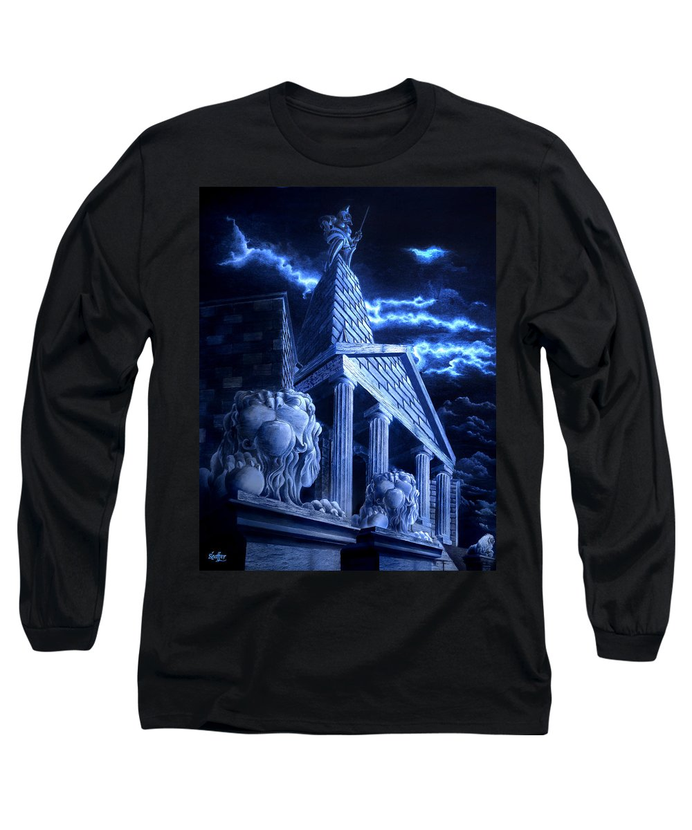 Hercules Long Sleeve T-Shirt featuring the drawing Temple Of Hercules In Kassel by Curtiss Shaffer