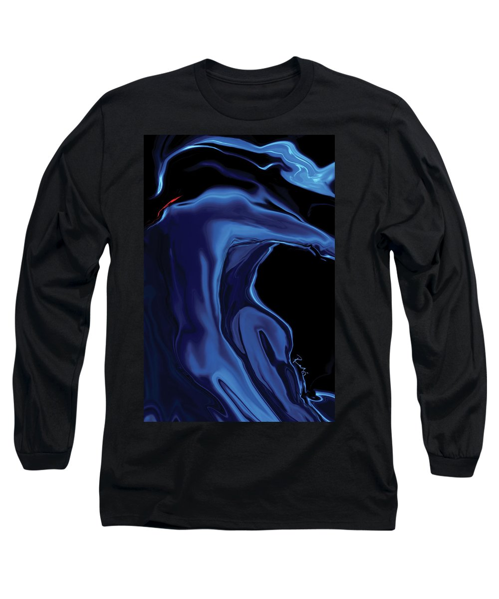 Abstract Long Sleeve T-Shirt featuring the digital art The Blue Kiss by Rabi Khan