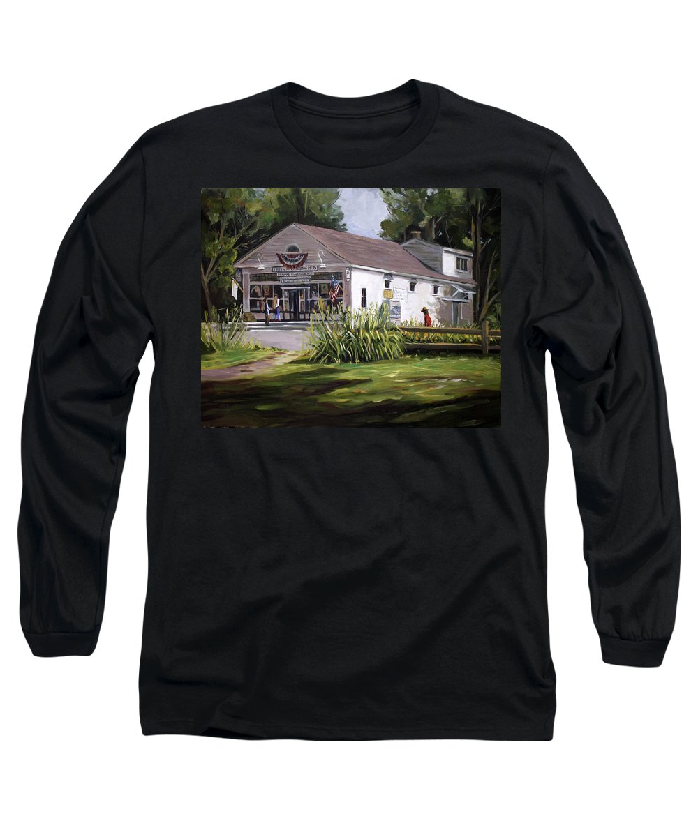 Buildings Long Sleeve T-Shirt featuring the painting The Country Store by Nancy Griswold