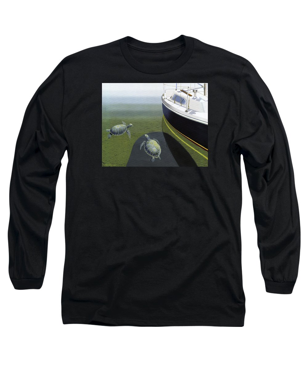 Sail Boat Long Sleeve T-Shirt featuring the painting The Curiosity Of Sea Turtles by Gary Giacomelli