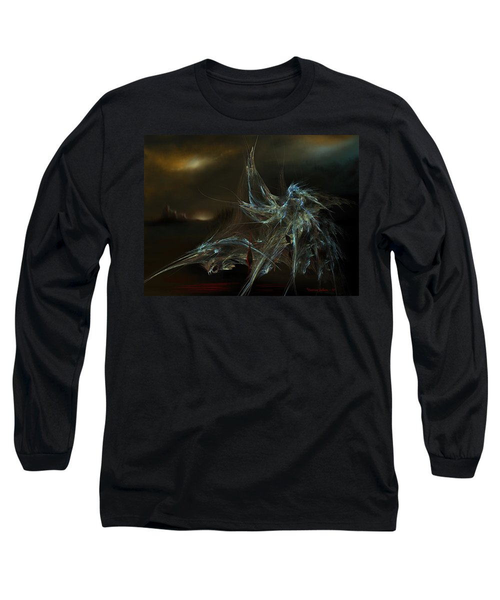 Dragon Warrior Medieval Fantasy Darkness Long Sleeve T-Shirt featuring the digital art The Dragon Warrior by Veronica Jackson