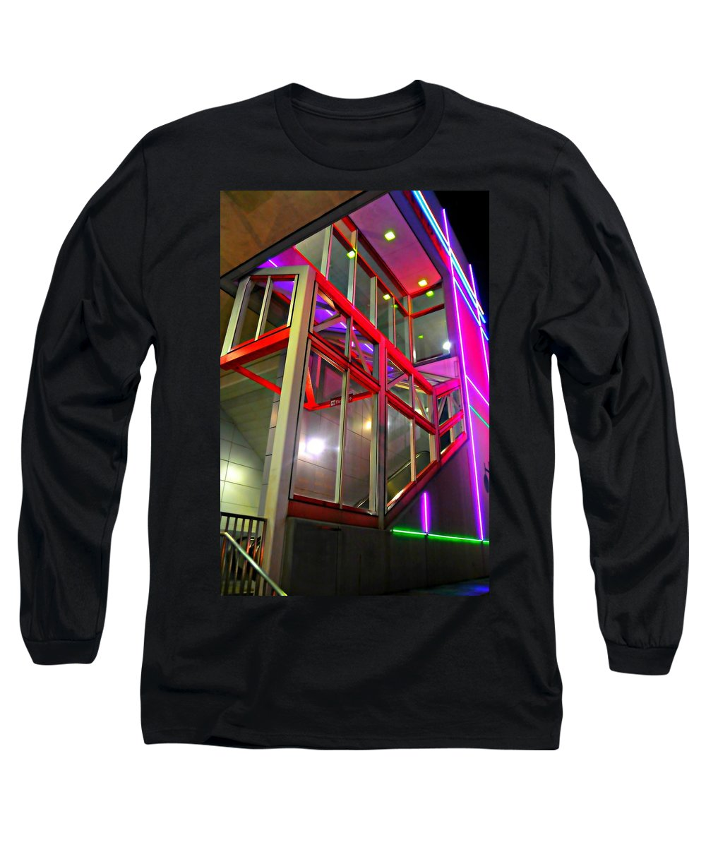 Abstract Long Sleeve T-Shirt featuring the photograph The Escalator by Diana Angstadt
