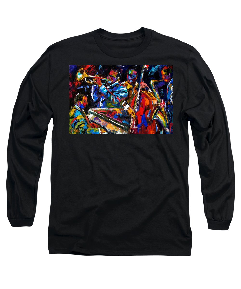 Jazz Long Sleeve T-Shirt featuring the painting The First Set by Debra Hurd