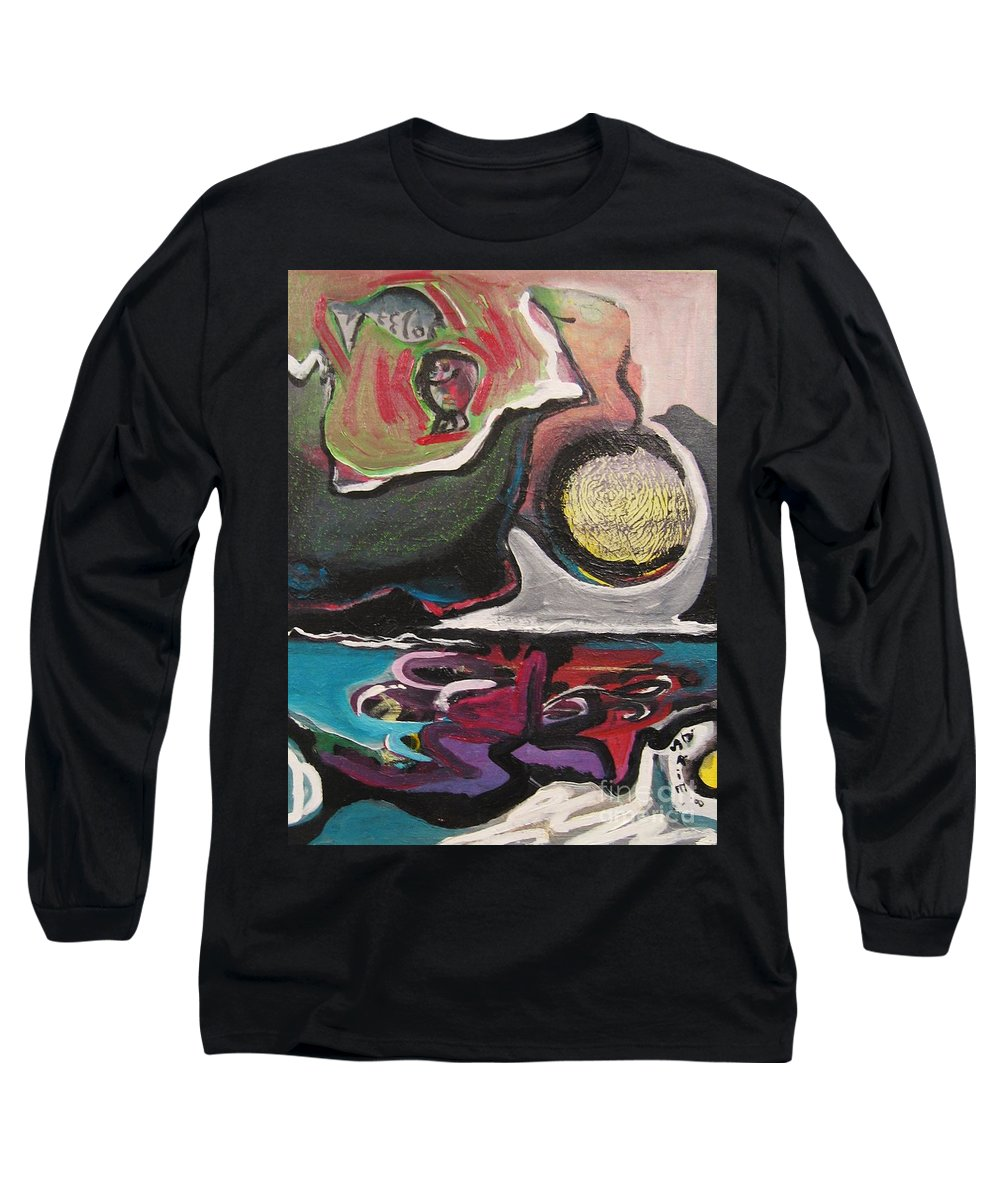 Abstract Paintings Long Sleeve T-Shirt featuring the painting The Full Moon2 by Seon-Jeong Kim