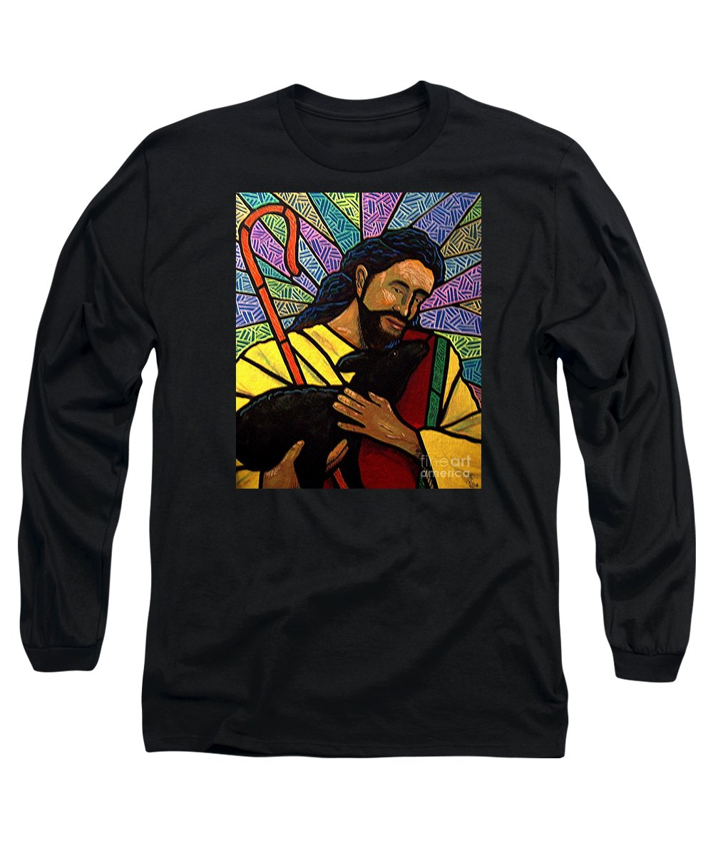 Jesus Long Sleeve T-Shirt featuring the painting The Good Shepherd - Practice Painting One by Jim Harris