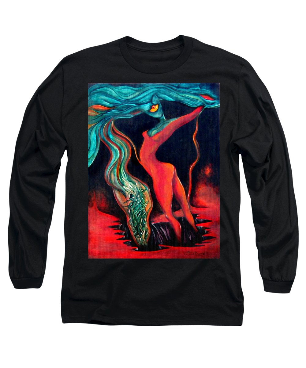 Surrealistic Harvest Red Hearth Woman Long Sleeve T-Shirt featuring the painting The Harvest by Veronica Jackson