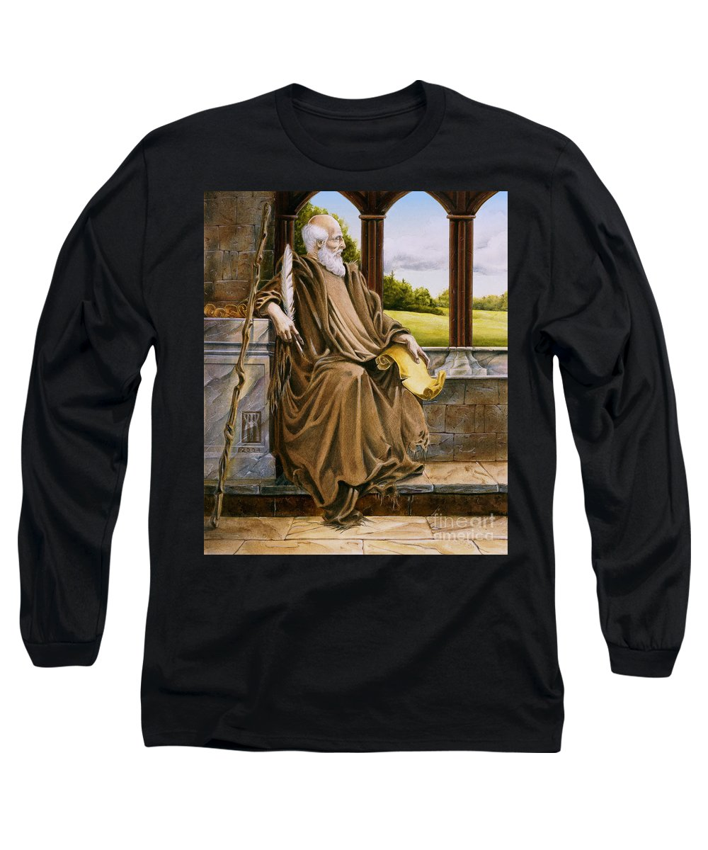 Wise Man Long Sleeve T-Shirt featuring the painting The Hermit Nascien by Melissa A Benson