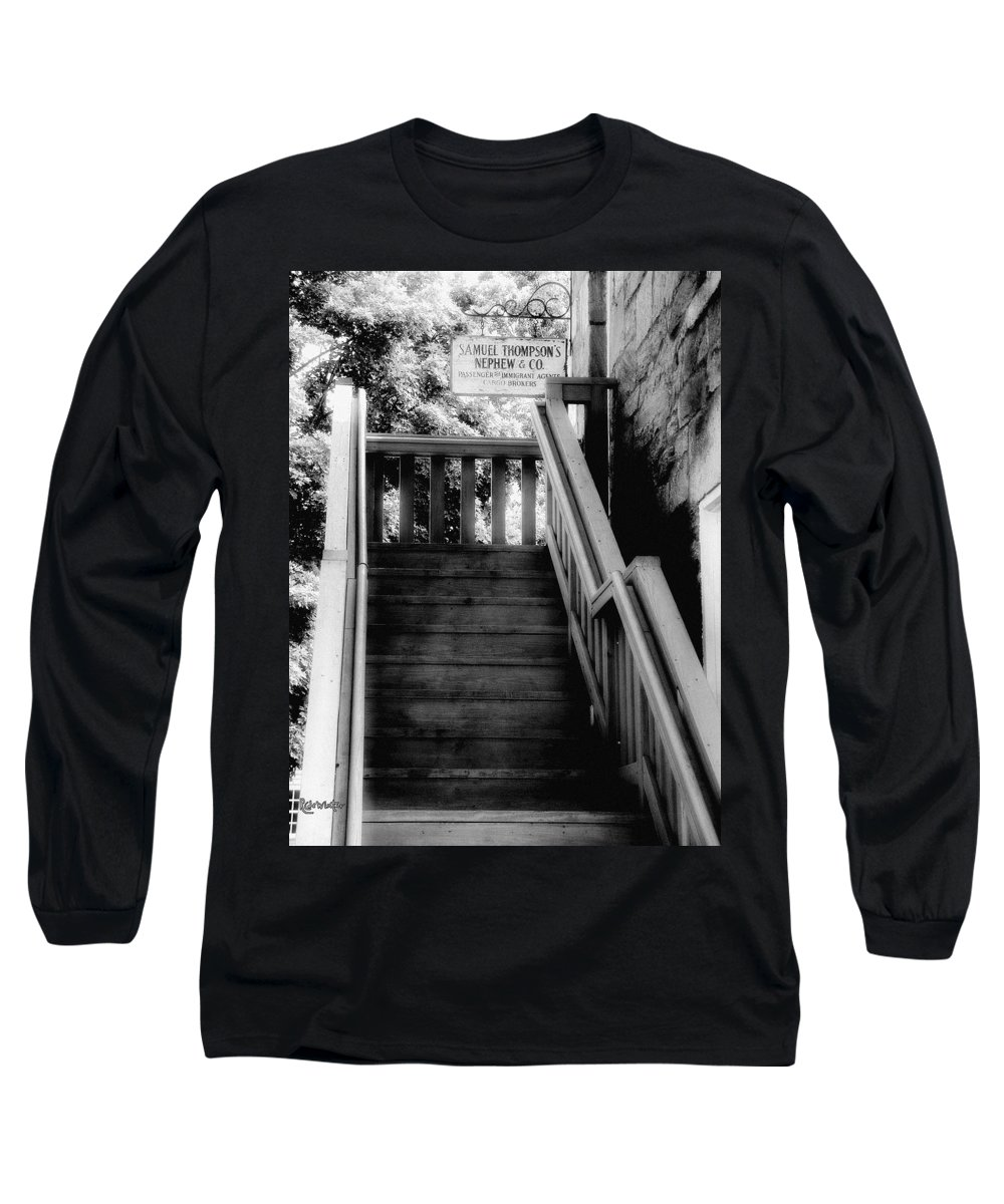 Black And White Long Sleeve T-Shirt featuring the photograph The Immigrant Traders by RC DeWinter