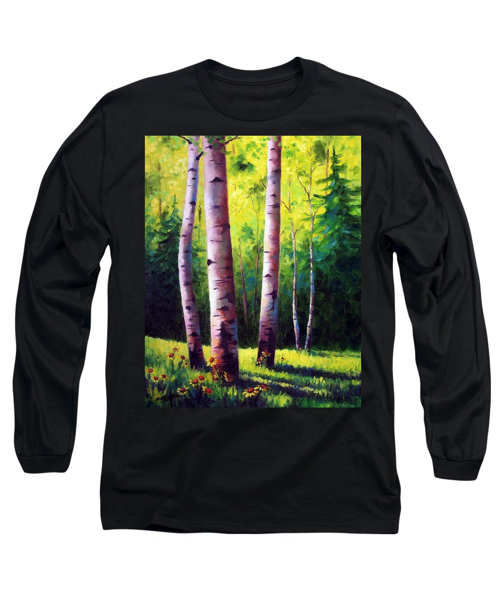 Aspen Long Sleeve T-Shirt featuring the painting The Light Of Spring by David G Paul