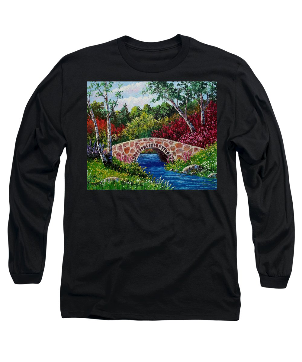 Landscape Long Sleeve T-Shirt featuring the painting The Little Stone Bridge by David G Paul