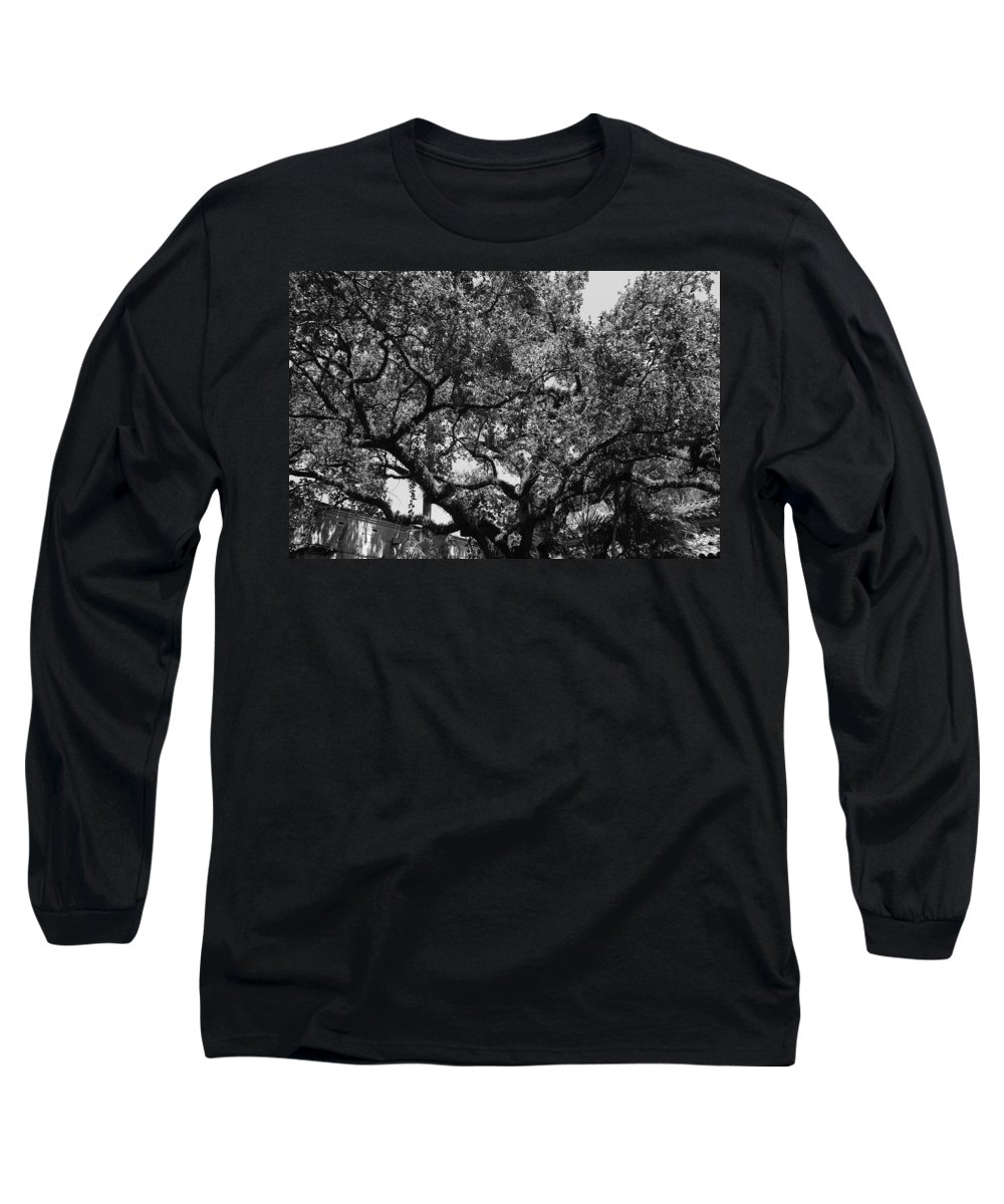 Black And White Long Sleeve T-Shirt featuring the photograph The Monastery Tree by Rob Hans