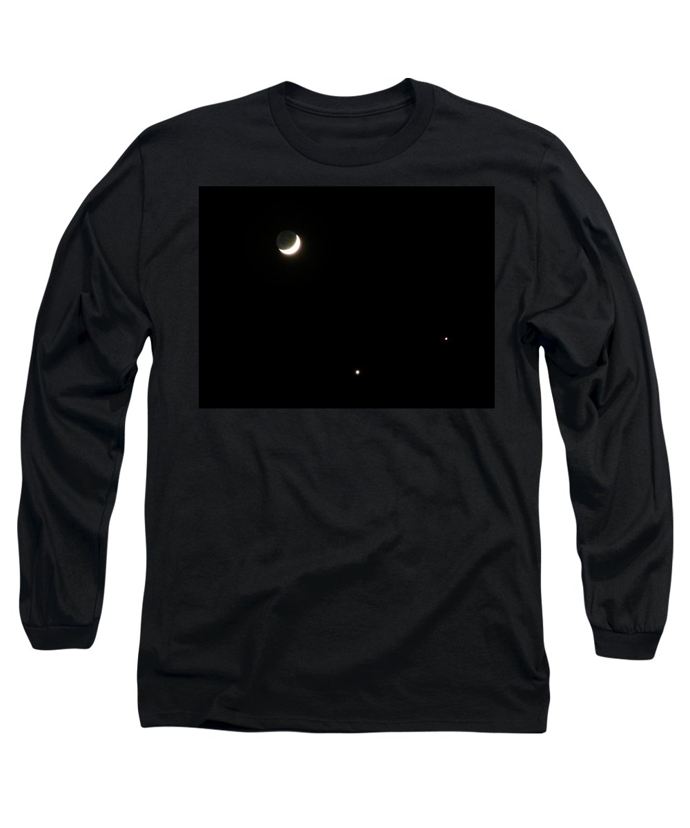 Moon Long Sleeve T-Shirt featuring the photograph The Moon And Stars by Gale Cochran-Smith