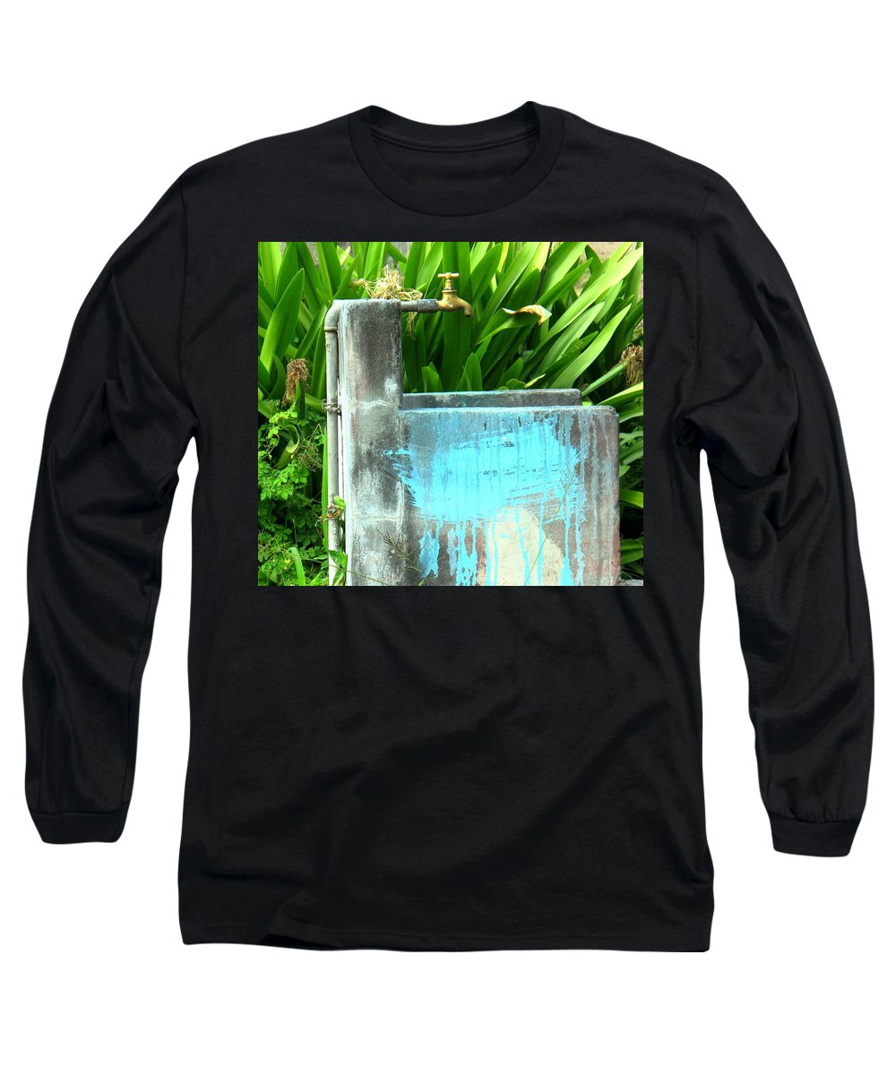 Water Long Sleeve T-Shirt featuring the photograph The Neighborhood Water Pipe by Ian MacDonald