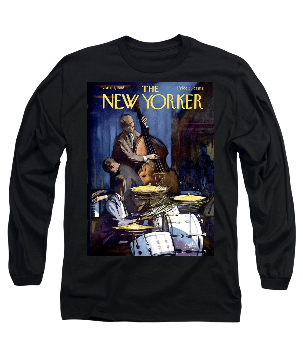 Concert Long Sleeve T-Shirt featuring the painting New Yorker January 4th, 1958 by Arthur Getz