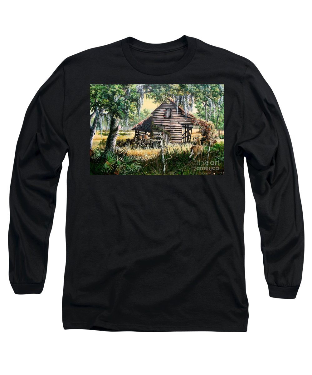 Florida Long Sleeve T-Shirt featuring the painting Old Floridaturpentine Barn-a Florida Memory by Daniel Butler