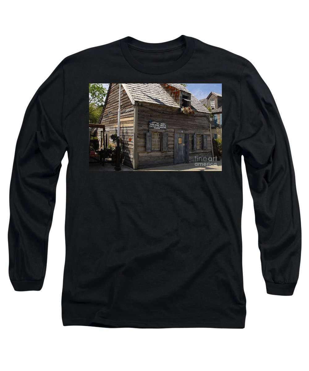 Saint Augustine Florida Long Sleeve T-Shirt featuring the photograph The Oldest School House by David Lee Thompson