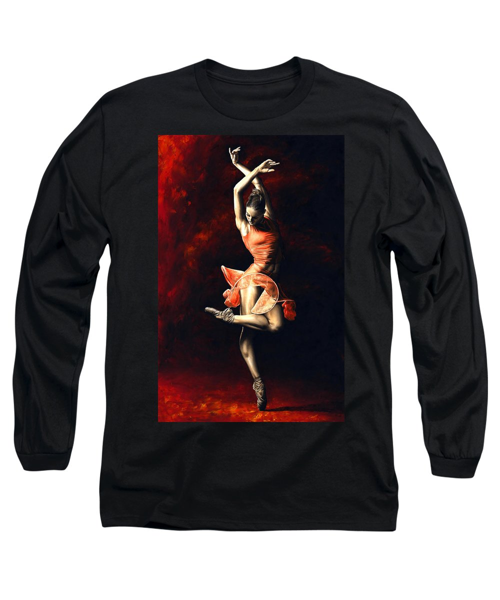 Dancer Long Sleeve T-Shirt featuring the painting The Passion Of Dance by Richard Young