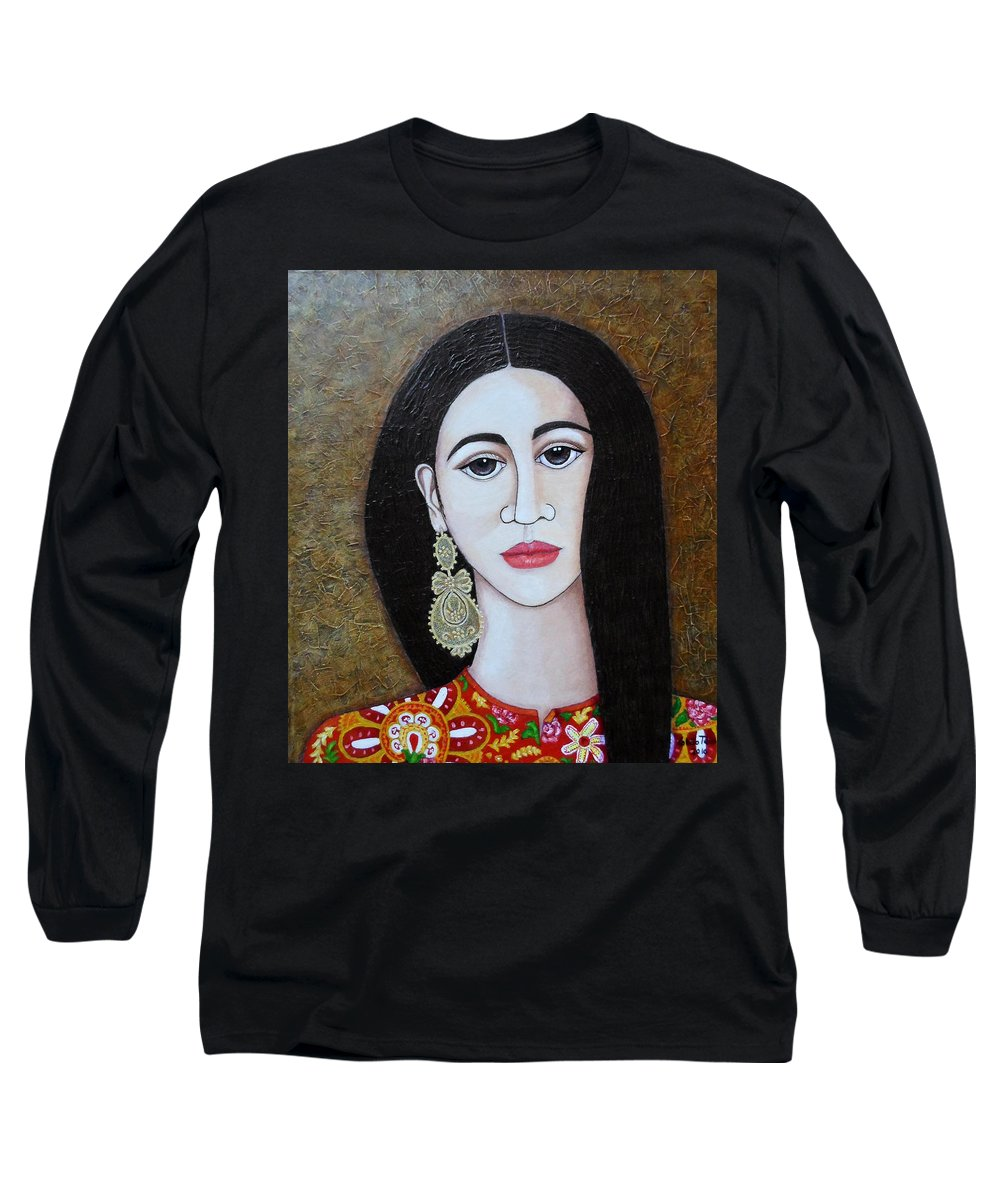 Woman Long Sleeve T-Shirt featuring the painting The Portuguese Earring 2 by Madalena Lobao-Tello
