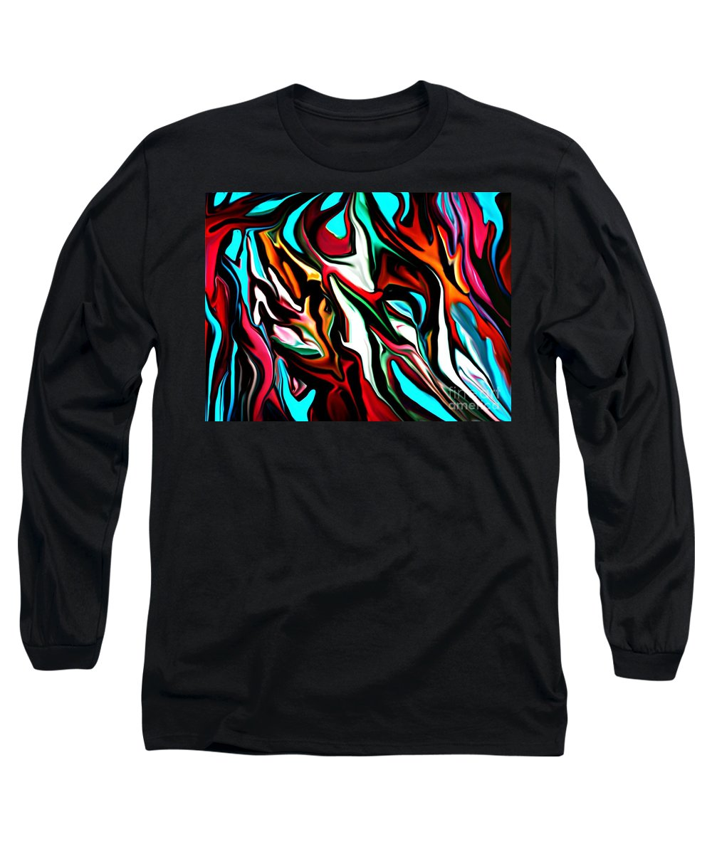 Abstract Long Sleeve T-Shirt featuring the digital art The Smearing Of The Paint 7-02-09 by David Lane