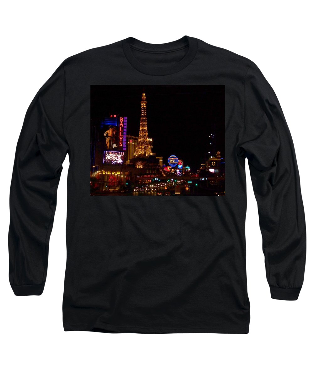Vegas Long Sleeve T-Shirt featuring the photograph The Strip At Night 1 by Anita Burgermeister