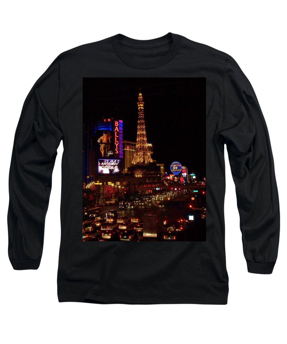 Vegas Long Sleeve T-Shirt featuring the photograph The Strip At Night 2 by Anita Burgermeister