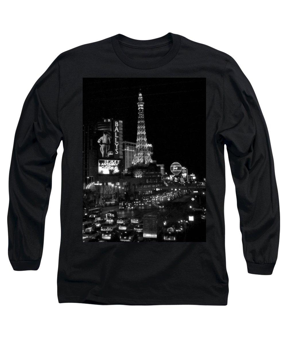 Las Vegas Strip Long Sleeve T-Shirt featuring the photograph The Strip By Night B-w by Anita Burgermeister