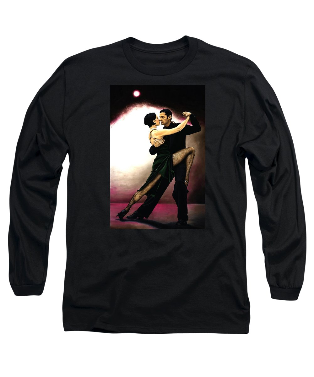 Tango Long Sleeve T-Shirt featuring the painting The Temptation Of Tango by Richard Young