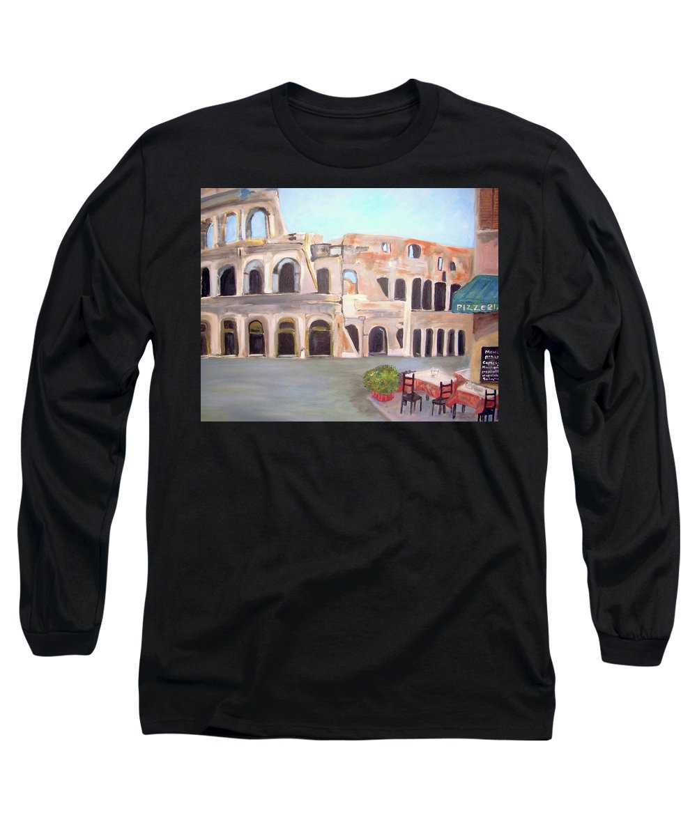 Cityscape Long Sleeve T-Shirt featuring the painting The View Of The Coliseum In Rome by Teresa Dominici