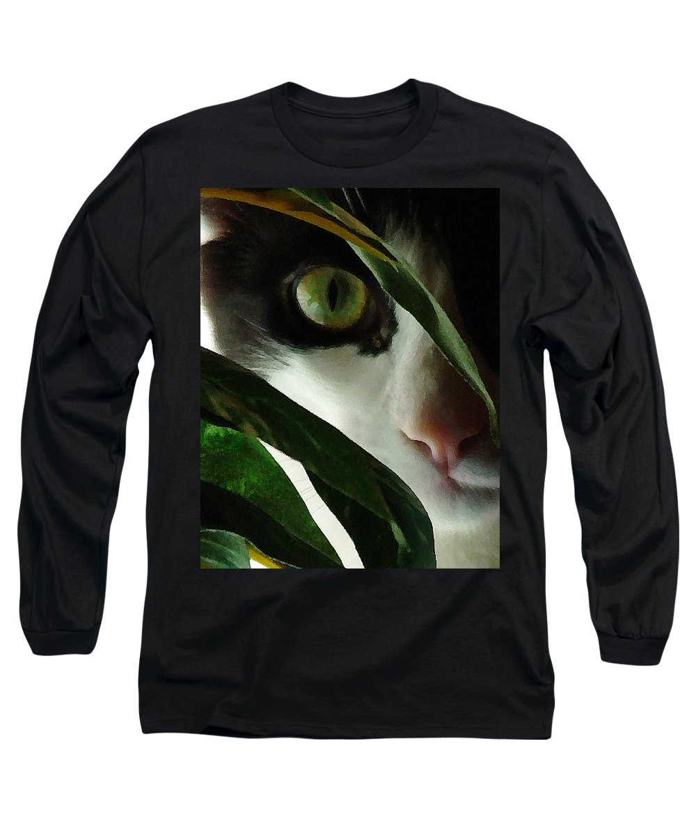 Cat Long Sleeve T-Shirt featuring the photograph The Voyeur by Lynn Andrews