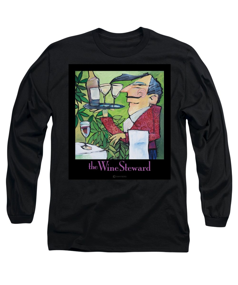 Wine Long Sleeve T-Shirt featuring the painting The Wine Steward - Poster by Tim Nyberg