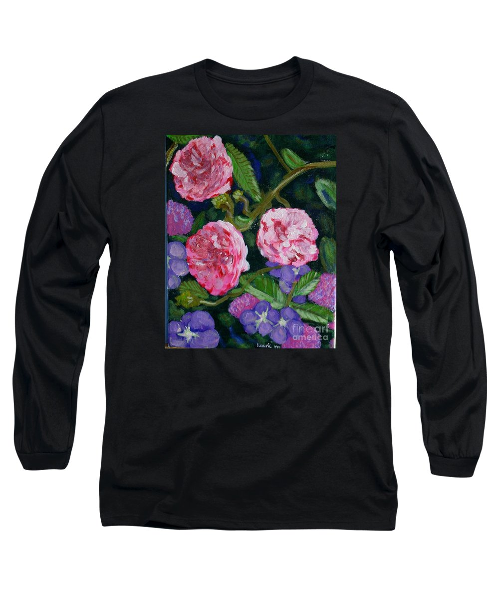 Roses Long Sleeve T-Shirt featuring the painting Three For The Show by Laurie Morgan