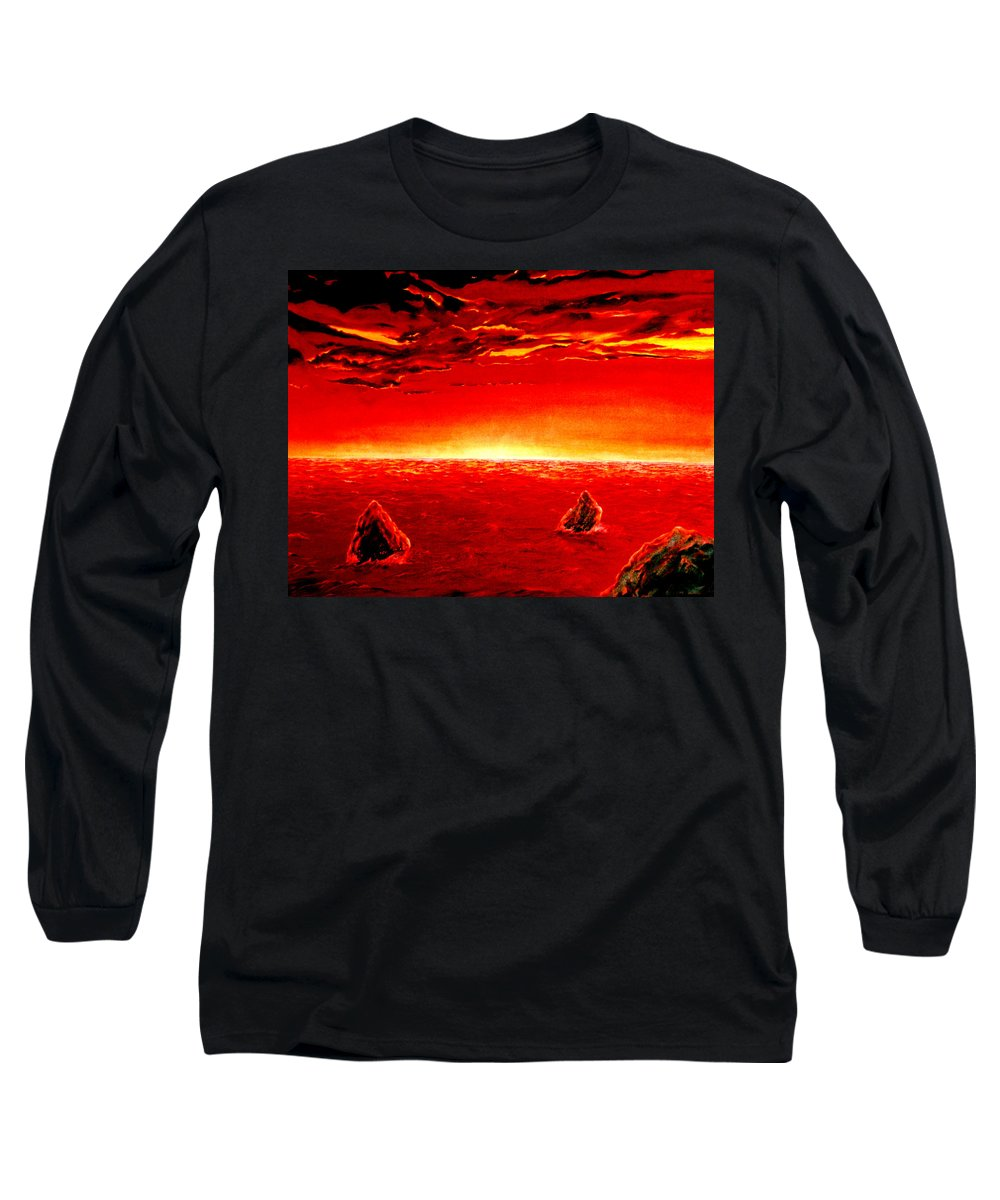 Seascape Long Sleeve T-Shirt featuring the painting Three Rocks In Sunset by Mark Cawood