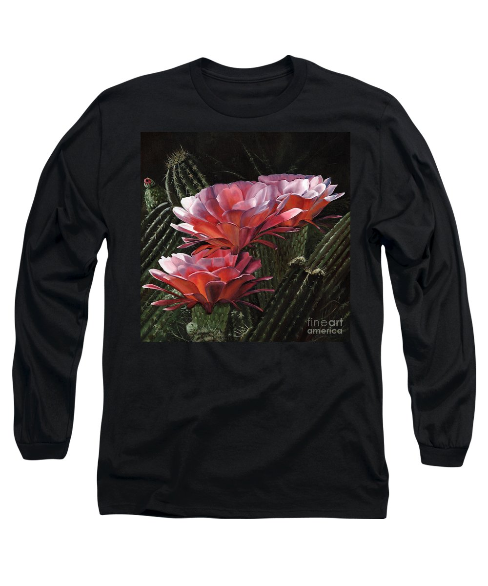 Art Long Sleeve T-Shirt featuring the painting Three Sisters by Mary Rogers