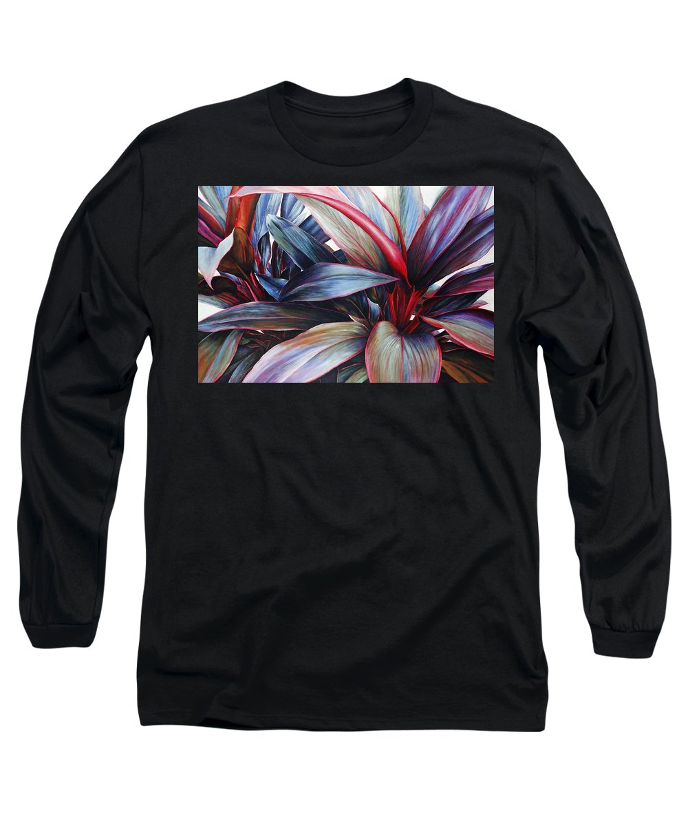 Acrylic Long Sleeve T-Shirt featuring the painting Ti In Blue by Sandra Blazel - Printscapes